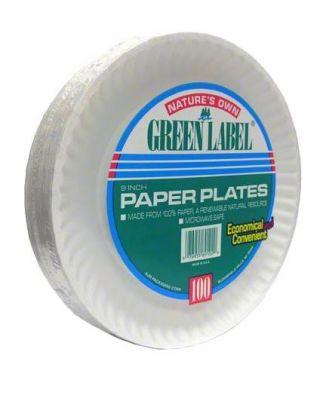 "Paper Plate 9"" White 12/100 In case"